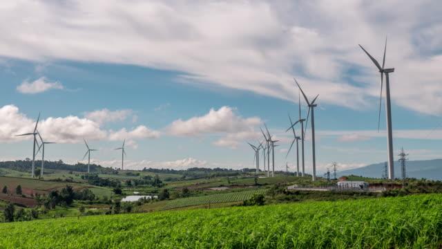 Timelapse Turbine field Renewable Energy Plants