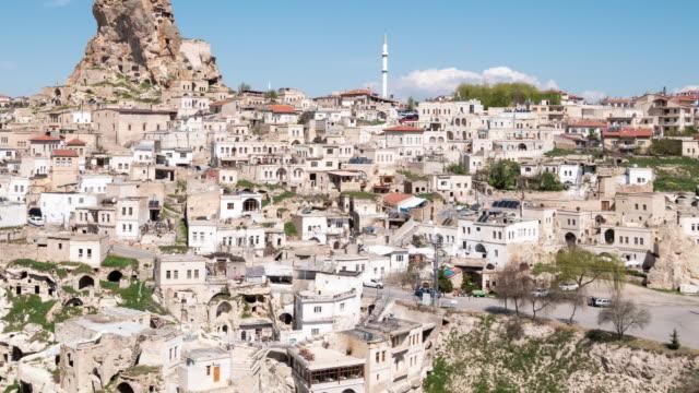 Time-lapse : Uchisar Castle in Cappadocia Region of Turkey, 4K Resolution.