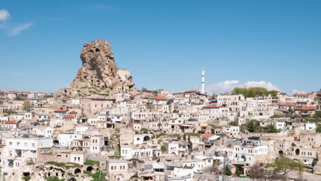 Time-lapse : Uchisar  in Cappadocia Region of Turkey, 4K Resolution.