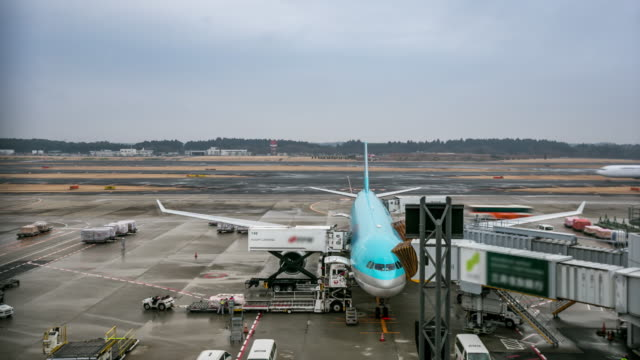 4K Time-lapse: Unloading airplane cargo air freight logistic background video