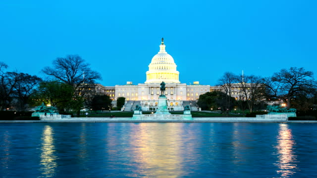 HD Time-lapse: US Capitol Building, Washington DC at dusk, USA video