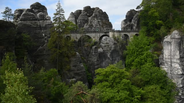 Timelapse video footage of Bastei Bridge in Saxon Switzerland, Germany Timelapse video footage of Bastei Bridge in Saxon Switzerland, Germany. Sandstone rocks, cloudy and windy weather. aqueduct stock videos & royalty-free footage
