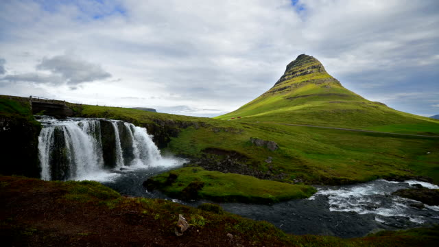 Timelapse video of Moving cloud and water at Kirkjufell, Iceland video
