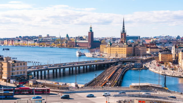 timelapse video av stockholms stadsbild i sverige, tidsinställd 4k - stockholm bildbanksvideor och videomaterial från bakom kulisserna