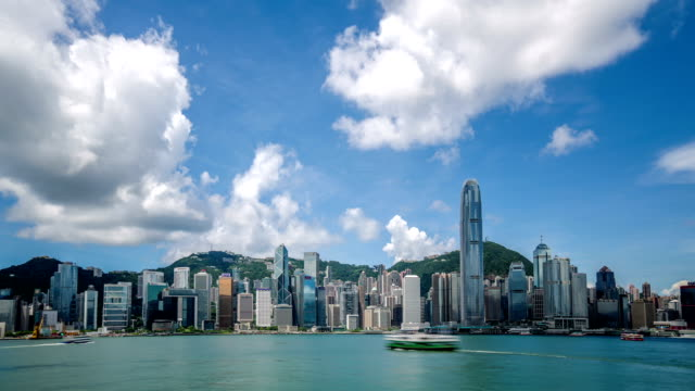 stockvideo's en b-roll-footage met timelapse video of victoria harbor, hong kong - hongkong