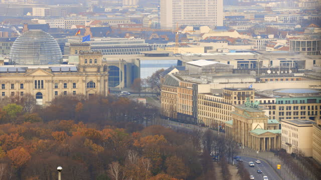 Timelapse view close up of the Berlin Brandenburg Gate travel destination