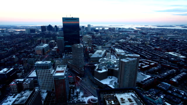 Timelapse view of Boston at dusk video