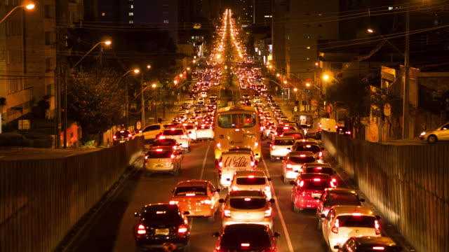 Timelapse View of Long Traffic Jam in Brazil Timelapse view of long traffic jam in Curitiba, Parana, Brazil. brazil stock videos & royalty-free footage