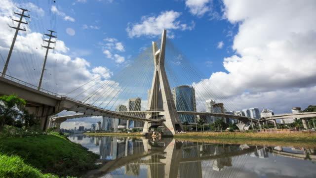 Timelapse View of Octavio Frias de Oliveira Bridge, or Ponte Estaiada, in Sao Paulo, Brazil - Zoom In