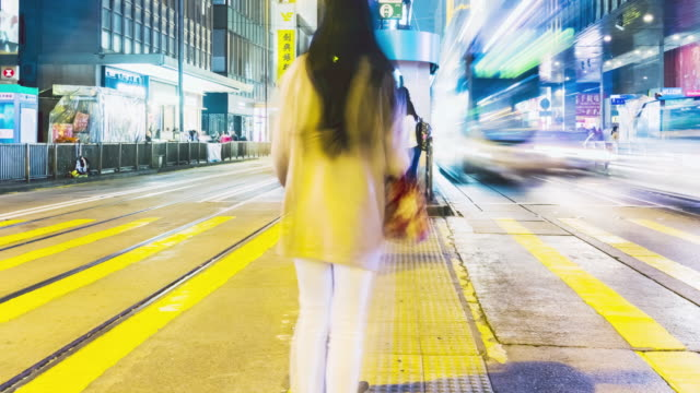 4K Timelapse view of people at a crossing on the streets of Causeway Bay in Hong Kong. Hong Kong is a major financial hub in the Asia region. video