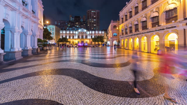 4K Timelapse : view of the historical district of Macau, a former Portugese colonial city and now popular destination for tourism video