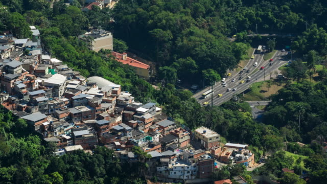 Timelapse View of Traffic and Favela (Shanty Town) in Rio de Janeiro, Brazil video