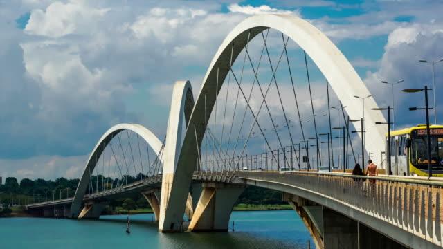 Timelapse View of Traffic on JK Bridge in Brasilia, Brazil - Zoom Out
