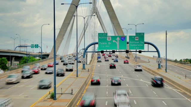 Timelapse View of Traffic on the Leonard P. Zakim Bunker Hill Memorial Bridge in Boston video