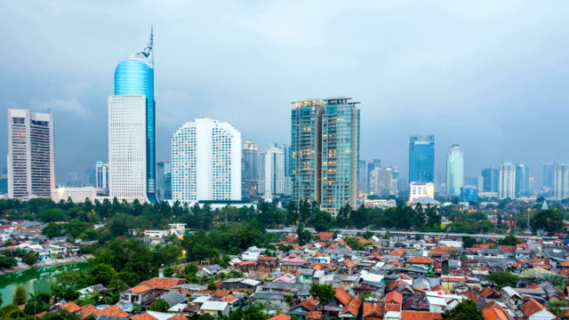 Timelapse view over Jakarta city at dusk Timelapse view over Jakarta city center at dusk jakarta stock videos & royalty-free footage