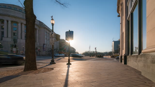 Time-lapse: Washington DC Downtown sunset at Freedom Plaza square DC USA