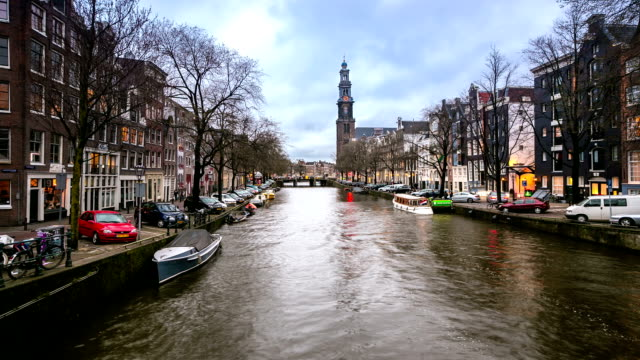 HD Time-lapse: West Church Westerkerk with canal Amsterdam Netherlands video
