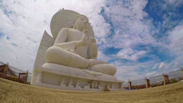 "Timelapse : White Buddha Statue,Saraburi Province,Thailand At "" Wat Phra Bhudda Sang Tham "" On Blue Sky Background, Saraburi Province , Thailand electron micrograph stock videos & royalty-free footage"