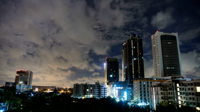 4K Time-lapse Wide shot: Cityscape with cloud cover at night video