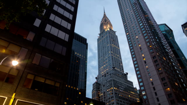 Time-lapse with motion control camera of Chrysler Building New York and Manhattan skyscrapers at sunset
