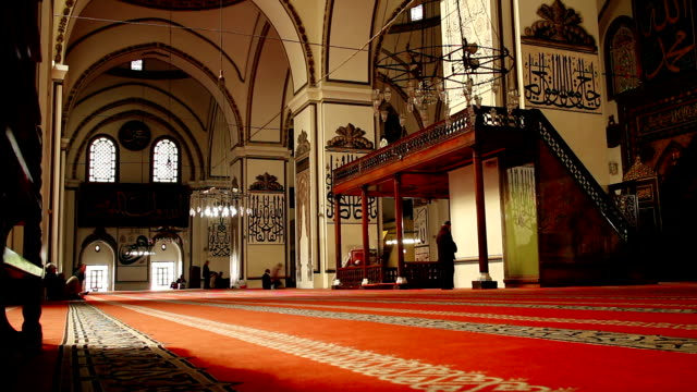 Timelapse with people praying in a mosque video