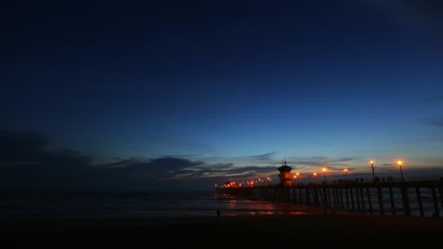 Timelapse with Sunset & Night at Huntington Beach Pier, California video
