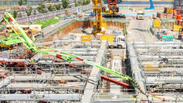 タイムラプス:東京の建設現場で働く - セメント点の映像素材/bロール