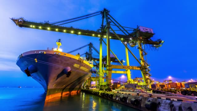 time-lapse: Working at Singapore Shipyard Port Terminal morning twilight 4K time-lapse: Working at Singapore Shipyard Port Terminal morning twilight, Apple ProRes 422 (HQ) 3840x2160 Format industrial ship stock videos & royalty-free footage
