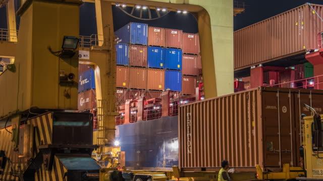 4K time-lapse : working crane loading bridge in shipyard video