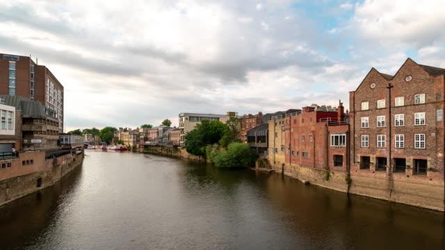 Time-lapse:  York cityscape along river ouse, York Yorkshire England UK.