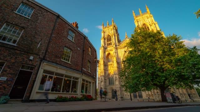 Time-lapse: York minster Cathedral Sunset dusk, York, England UK.