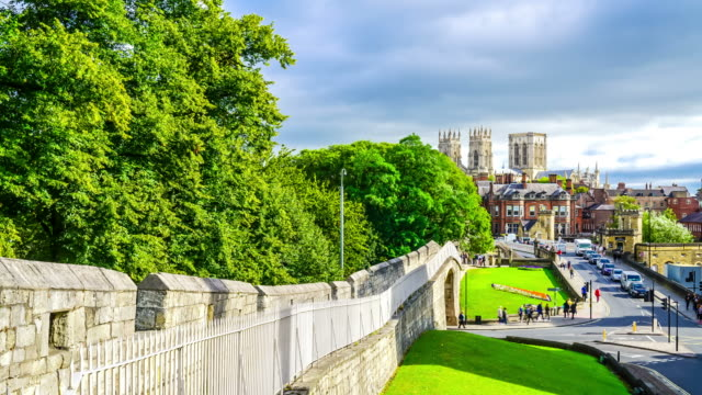 timelapse York Minster with York City in England, UK