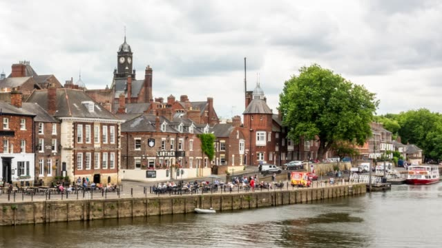 Time-lapse:  York old town cityscape along river ouse, York Yorkshire England UK.