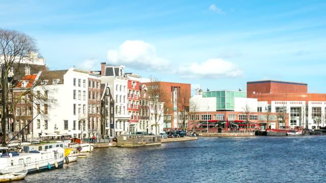 hd 微速度撮影のズーム(zoom ):アムステルダムアムステル川のオペラ cityhall オランダ - オペラ点の映像素材/bロール