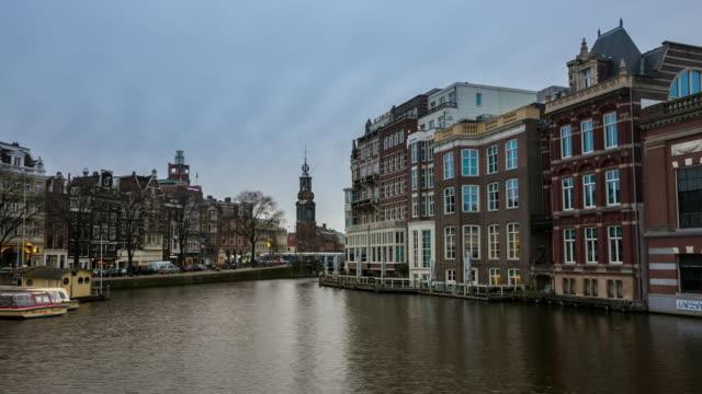 コマ撮りズーム アウト: ムントタワー タワー アムステルダム泊 - 花市場点の映像素材/bロール