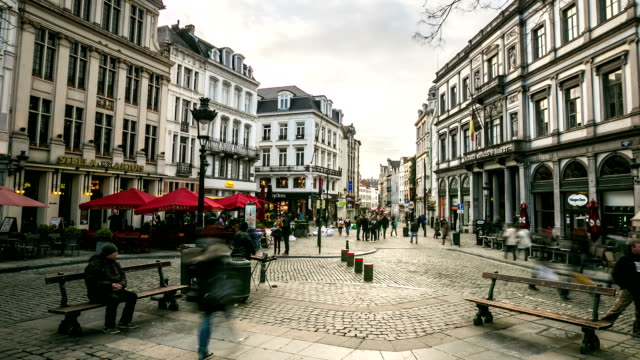 HD Time-lapse Zoom-out: City Pedestrian at Grand Place Brussels Belgium video