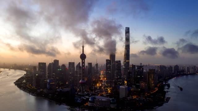 4K TimeLapse-aerial photo of sunrise Panoramic skyline  Shanghai china 4K TimeLapse-sunrise Panoramic skyline  Shanghai china china east asia stock videos & royalty-free footage