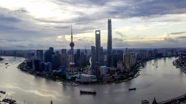 4K TimeLapse-aerial photo of sunrise Panoramic skyline  Shanghai china 4K TimeLapse-sunrise Panoramic skyline  Shanghai china east stock videos & royalty-free footage