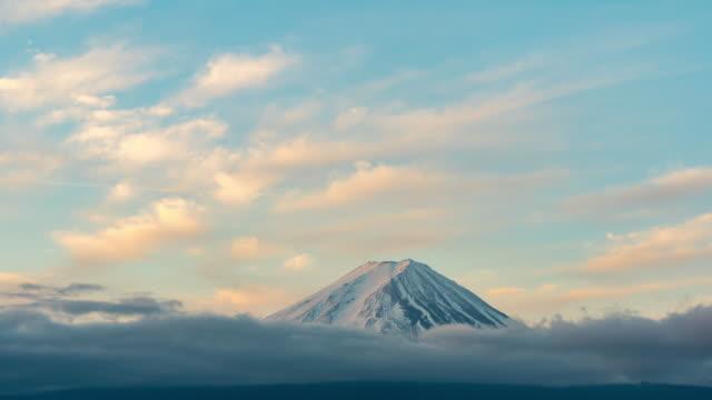 Time-lapse:Aerial view Fujisan mountain sunrise dawn at kawaguchiko lake