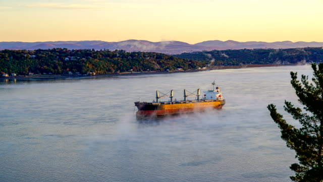 Video Time-lapse:Cargo boat near the harbor in Quebec city