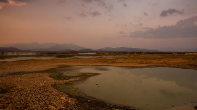 timelapse:cracked earth near dry lake in dry season video