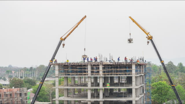 4K Time-lapsed of Construction Site, worker working in high building. video