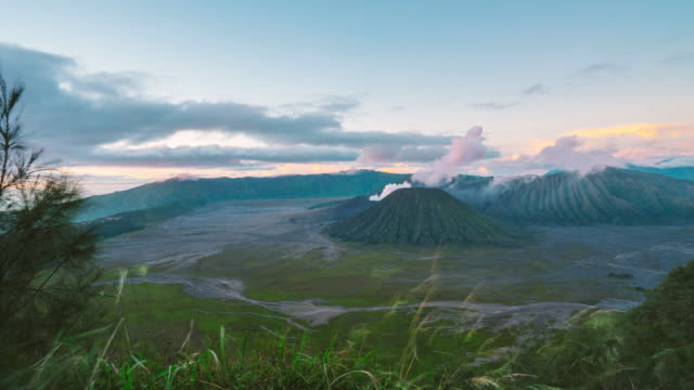 4K Time-lapsed of Sunrise at Mount Bromo volcano, the magnificent view of Mt. Bromo located in Bromo Tengger Semeru National Park, East Java, Indonesia. video
