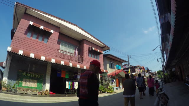 4K Time-lapse:Downtown of a small town (Chiang Khan) in Thailand video