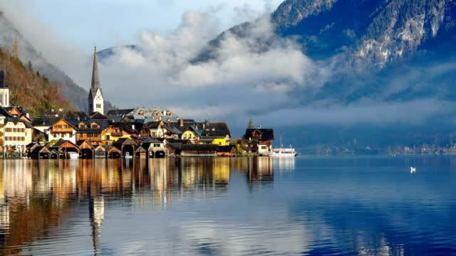 Time-lapse:Hallstatt Austria lake Hallstattersee with quiet blue - video