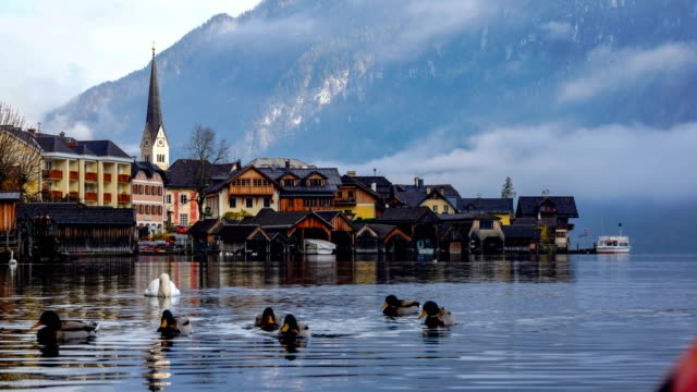 Time-lapse:Hallstatt mountain village in the Alps, Salzkammergut, Austria - video