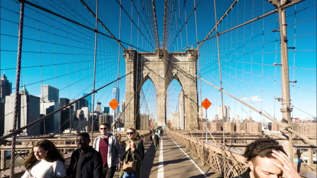 Timelapse/Hyperlapse Crossing the Brooklyn Bridge from Brooklyn to Manhattan video