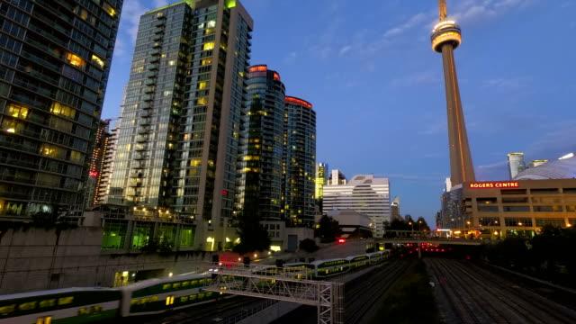 Time-lapse:Toronto downtown skyscraper skyline sunset - video