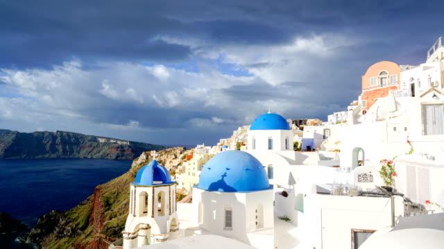 Time-lapse:White church in Oia town on Santorini island in Greece - video