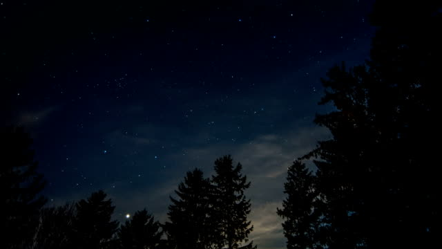 Timelaspe of stars moving over dark sky video